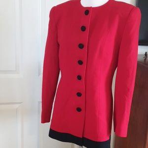 CHRISTIAN DIOR vintage red black military blazer